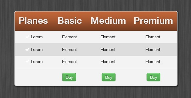 Bootstrap pricing tables for Table css template