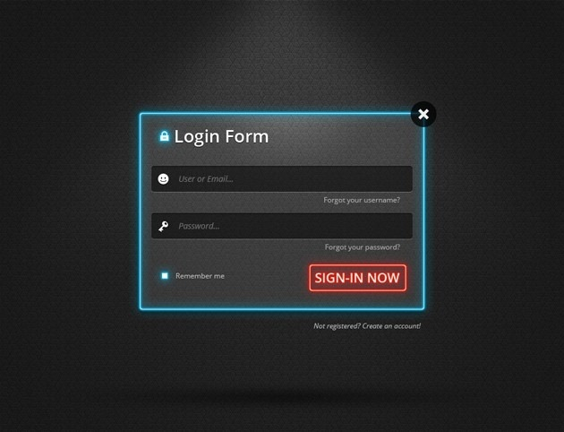 Web page Login form