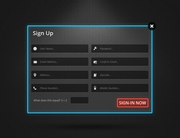 Login form pack PSD