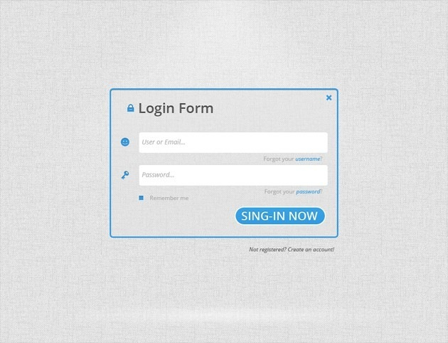 Clear Login form PSD