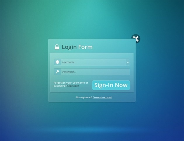 Transparent Login form PSD