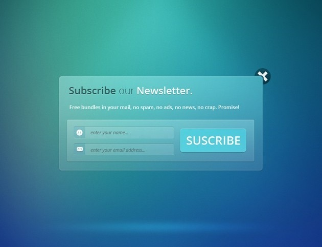 Transparent Subscribe form