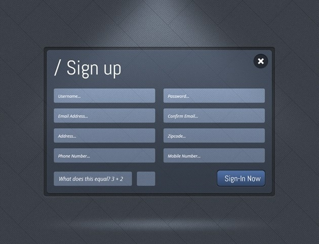 Dark Sign up form
