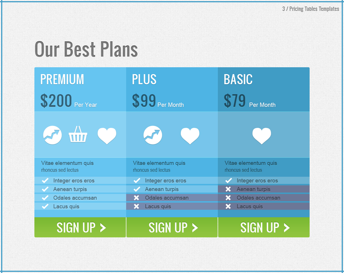Pricing tables for Pricing table design