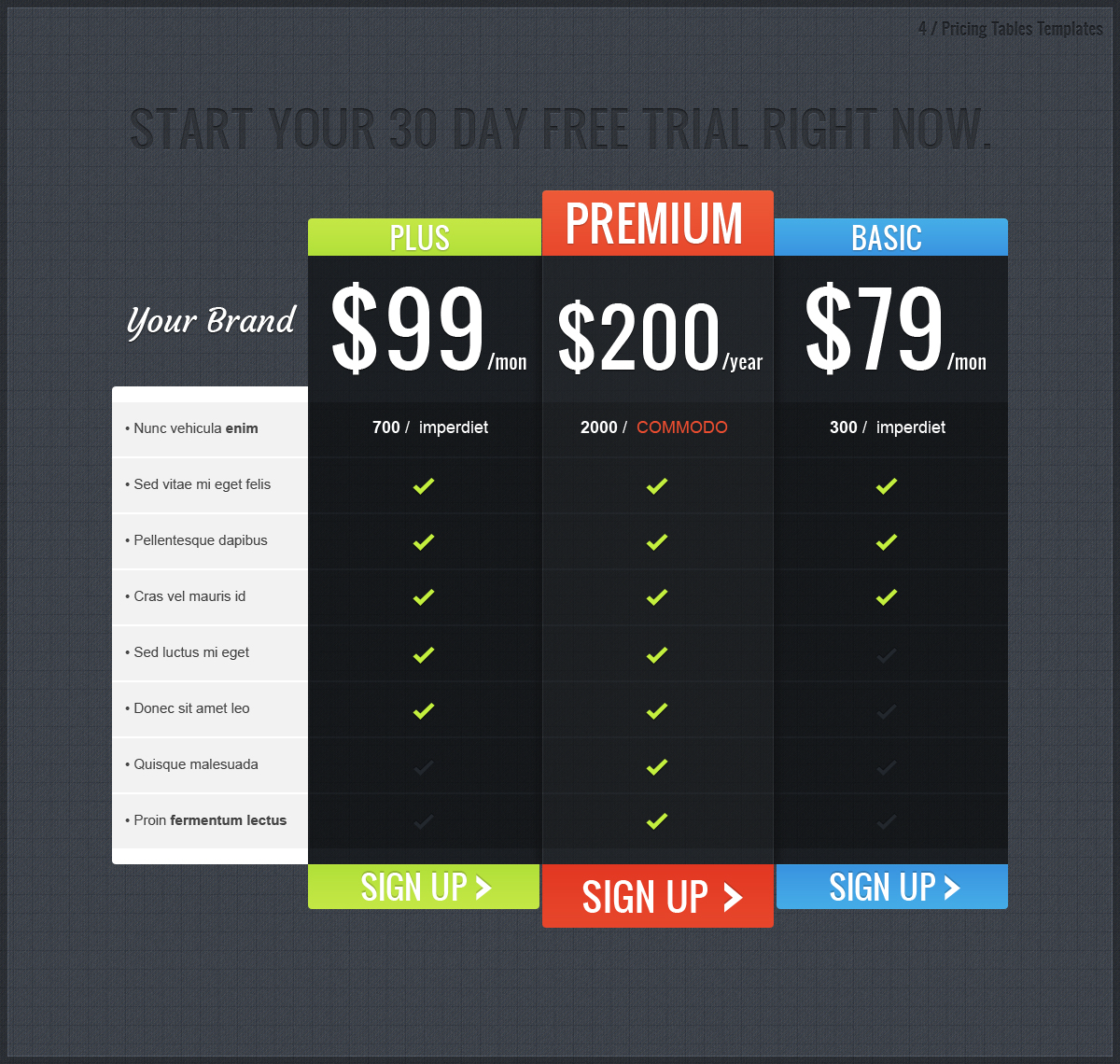 Pricing: Pricing Tables