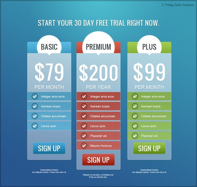 pricing list pack