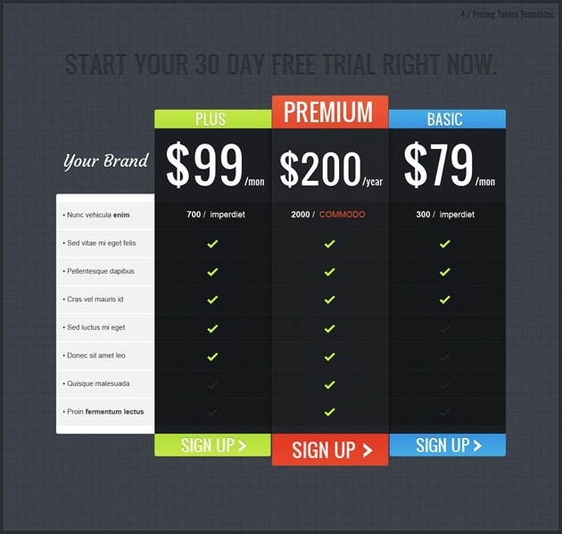 pricing list PSD