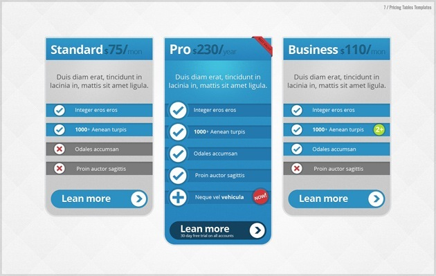 pricing table Photoshop