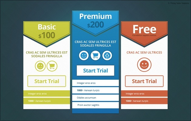 pricing table graphic