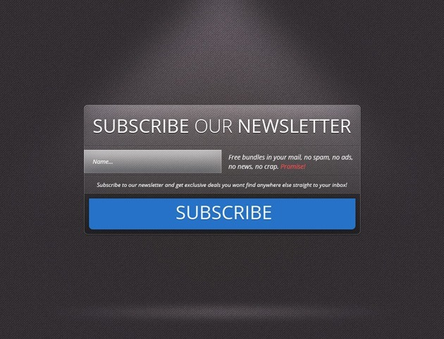 Dark Newsletter form PSD