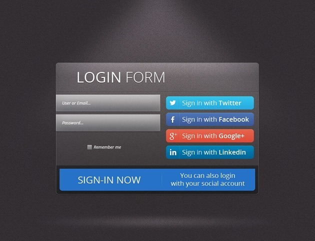 Dark Login form PSD