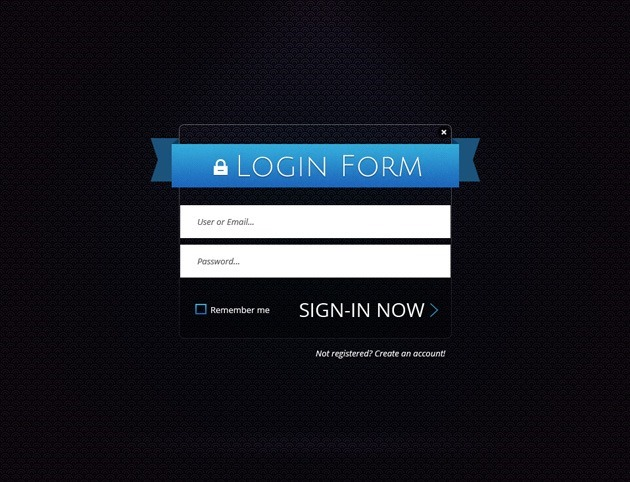 Ribbon Login form PSD