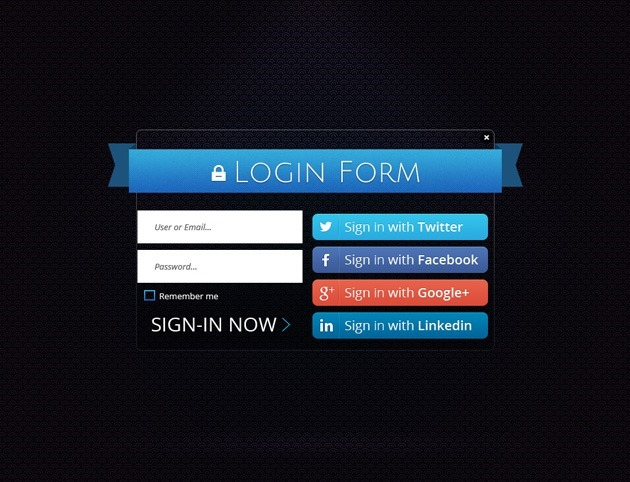 Ribbon Login form