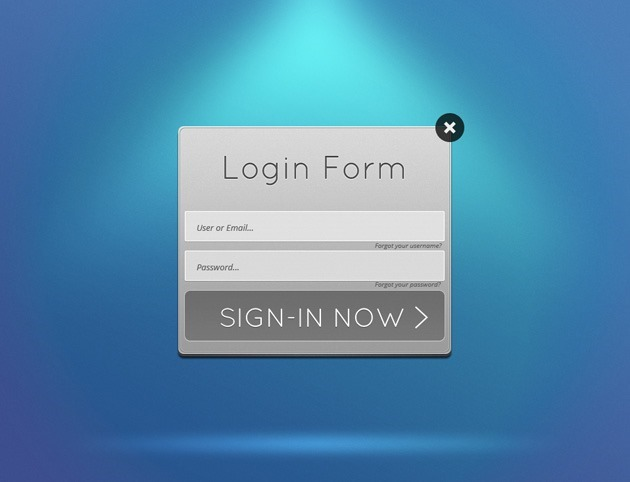 Grey Login form PSD