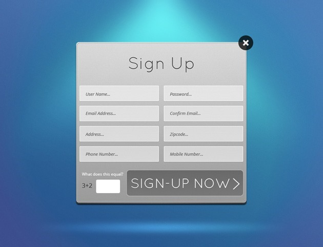 Grey Sign up form