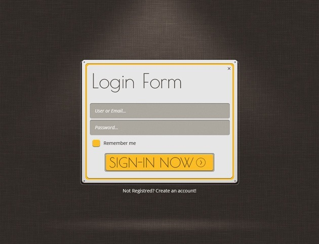 Web design Login form PSD