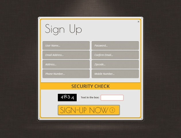 Web design Sign up form