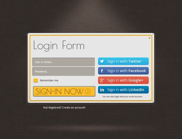 Web design Login form