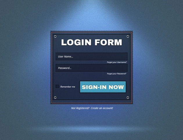 Dashed Login form PSD