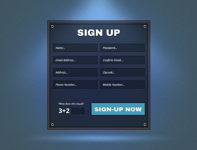 Dashed Sign up form