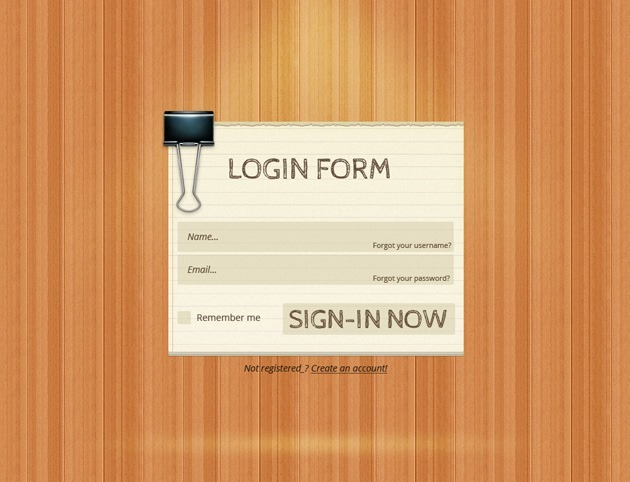 Wood Login form PSD