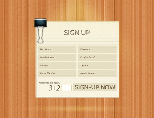 Wood Sign up form