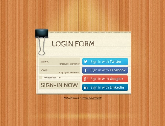 Wood Login form