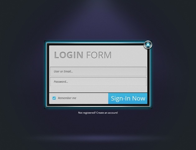 Neon Login form PSD