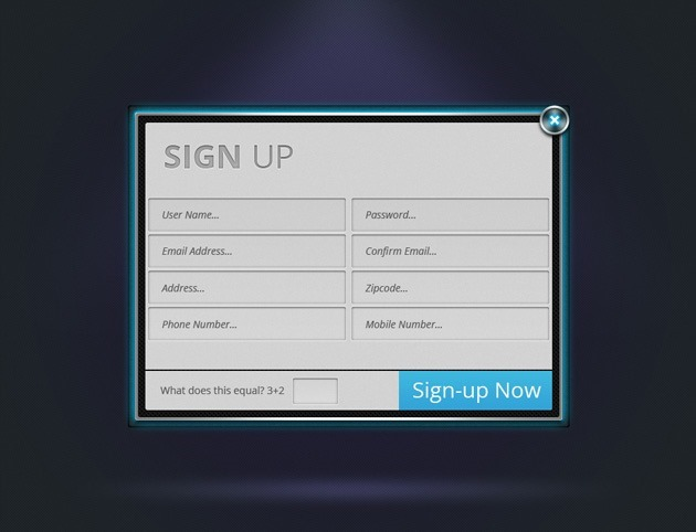 Neon Sign up form