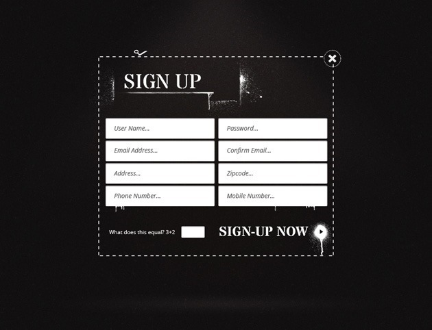 Dark Sign up form template