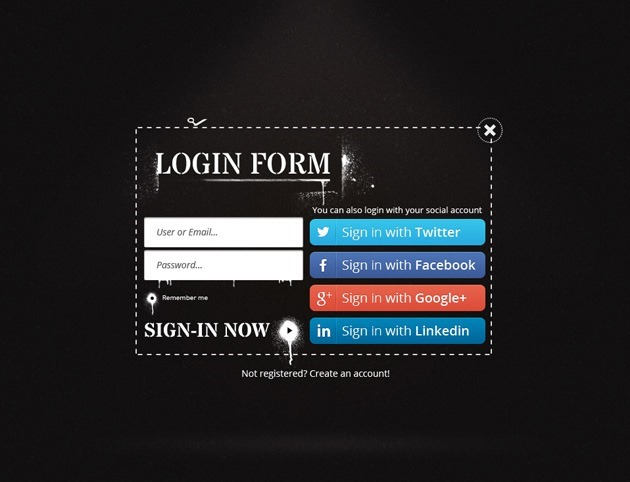 Dark Login form template