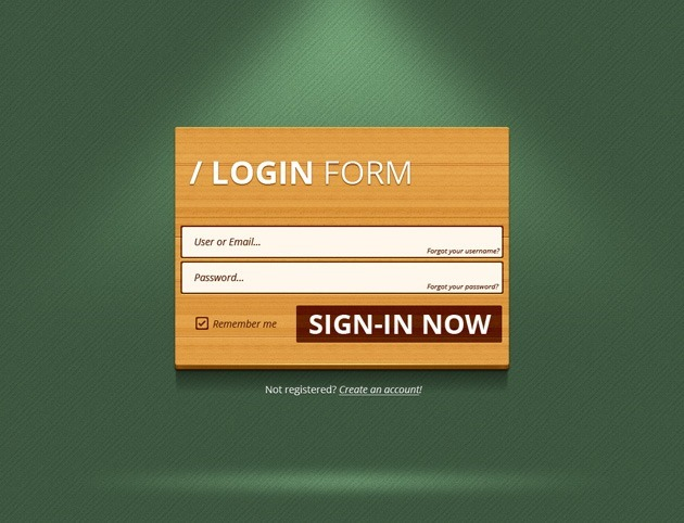 Wood Login form PSD template