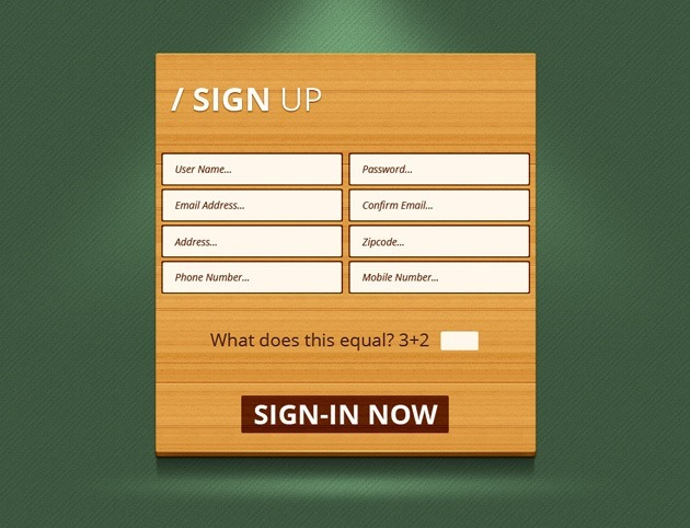 Wood Sign up form template