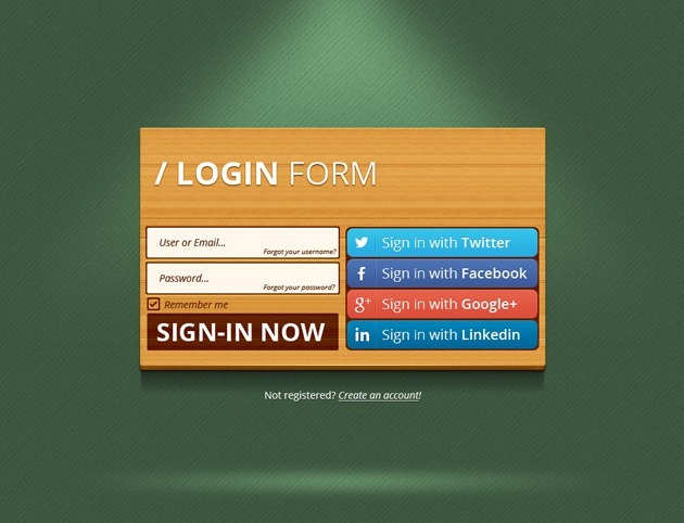 Wood Login form template