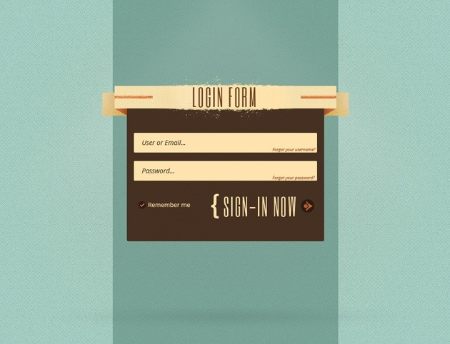Web Login form PSD template