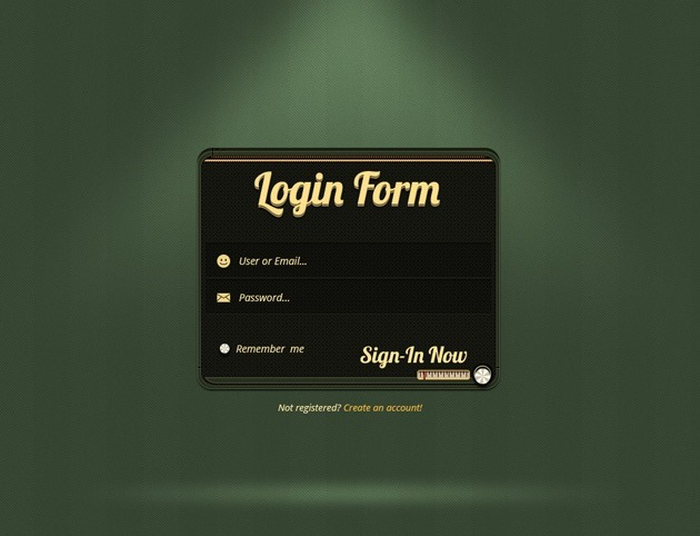 Green Login form PSD design
