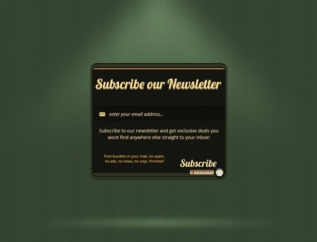 Green Subscribe form design