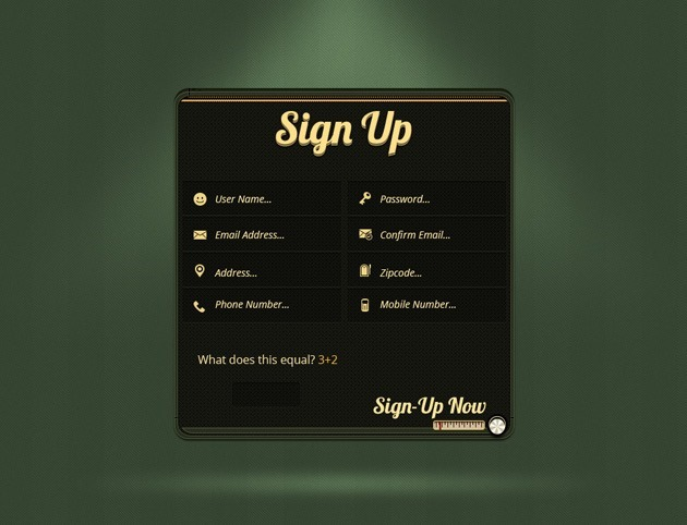 Green Sign up form design