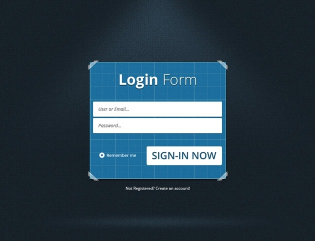 Blue Login form PSD design