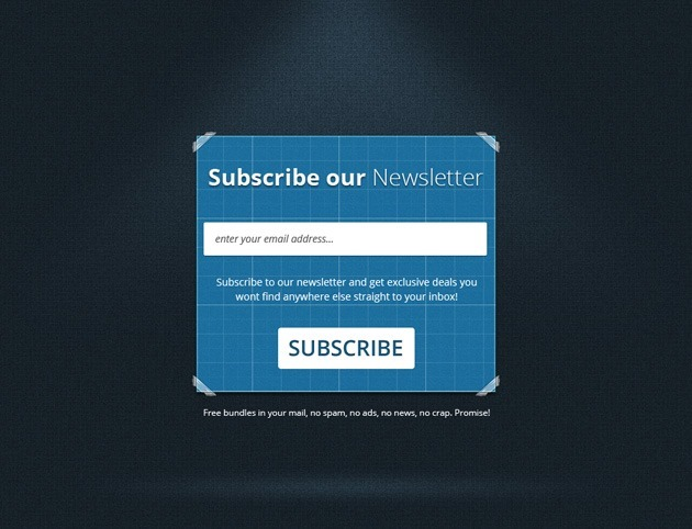 Blue Subscribe form design