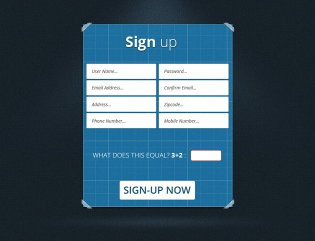 Blue Sign up form design