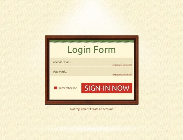 Minimalist Login form PSD design