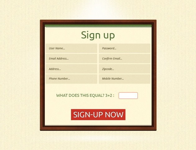 Minimalist Sign up form design