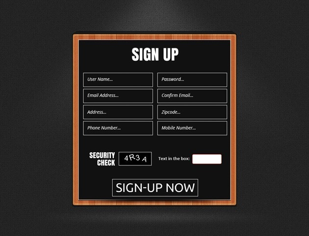 Sign up form design