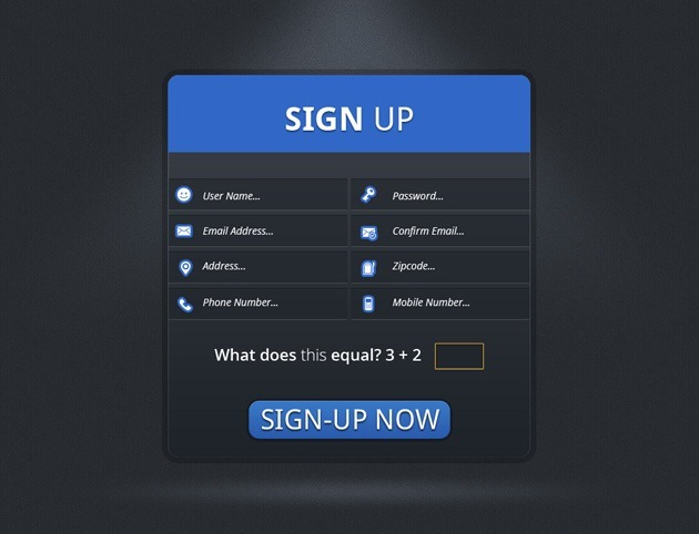 simple Sign up form template