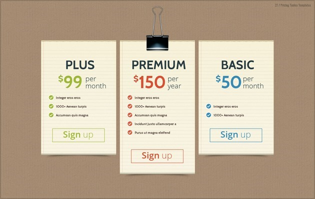 pricing list design