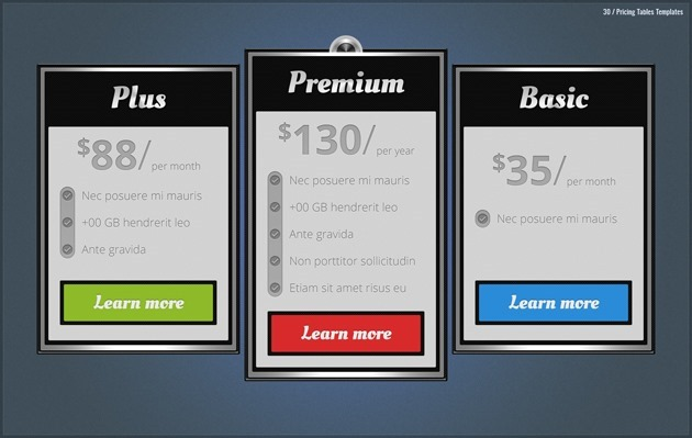 web pricing list