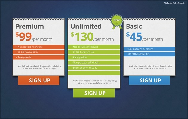 web pricing table pack