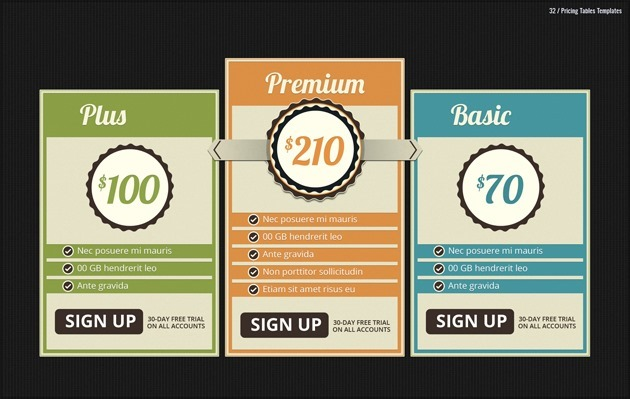web pricing list pack