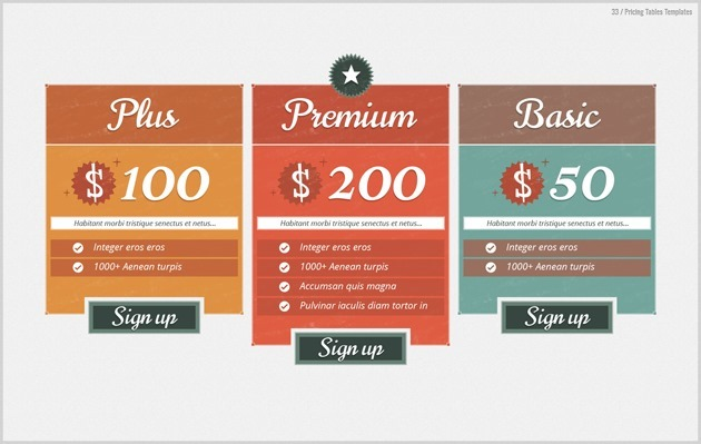 web pricing table PSD
